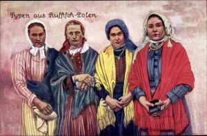 Künstler Ak Typen aus Russisch Polen, Frauen in Trachten, Kopftuch