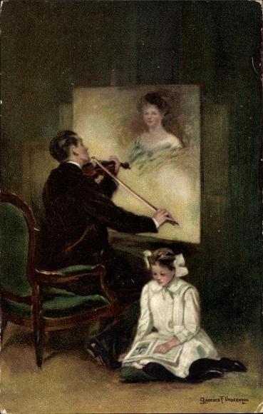 Künstler Ak Underwood, Clarence, Mann spielt Geige vor einem Frauenportrait, Novitas 20456