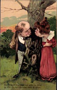 Präge Litho Mann und Frau wollen sich küssen, Liebespaar