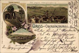 Litho Obergünzburg im schwäbischen Kreis Ostallgäu, Lourdes Grotte, Bahnstation, Totalansicht