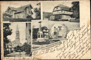 Ak Rheinbischofsheim Rheinau in Baden, Geschäftshaus Lindauer, Pfarrhaus, Kirche, Hanauer Tracht