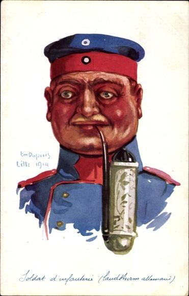 Künstler Ak Leurs Caboches, Soldat d'Infanterie, Landsturm allemand, Deutscher Soldat, Pfeife, I. WK