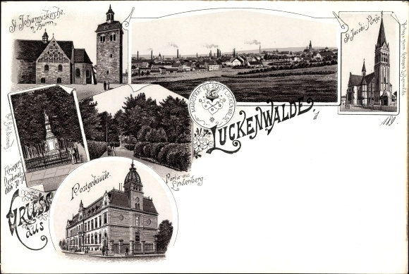 Wappen Litho Luckenwalde im Kreis Teltow Fläming, Kriegerdenkmal, St. Jacobi Kirche, Lindenberg