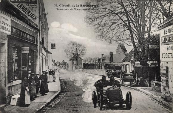 Ak Circuit de la Sarthe 1906, Traversée de Sceaux sur Huisne Sarthe, Autorennen