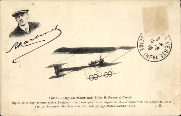 Ak Biplan Martinet, Biplan H. Farman de Course, Flugpionier