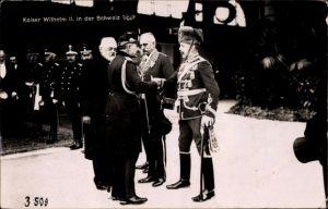 Ak Kaiser Wilhelm II., Staatsbesuch in der Schweiz, Präsident Ludwig Forrer