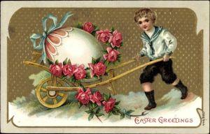 Präge Litho Glückwunsch Ostern, Junge in Matrosenanzug mit Osterei