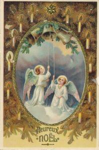Präge Litho Glückwunsch Weihnachten, Zwei Engel läuten die Glocken