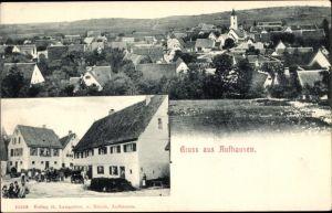 Ak Aufhausen Geislingen an der Steige, Blick auf Stadt und Kirche, Straßenansicht