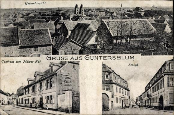 Ak Guntersblum in Rheinhessen, Gasthaus zum Pfälzer Hof, Schloss, Gesamtansicht