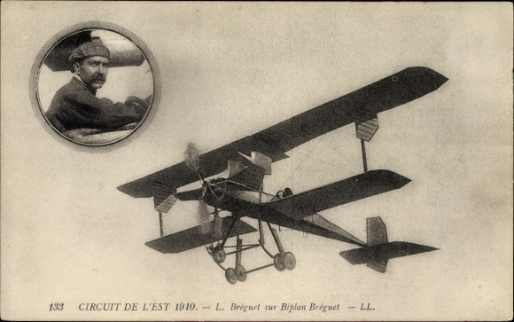 Ak Circuit de l'Est 1910, L. Bréguet sur Biplan Bréguet, Flugpionier