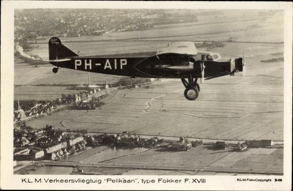 Ak KLM Verkeersvliegtuig Pelikaan, type Fokker F XVIII, PH-AIP