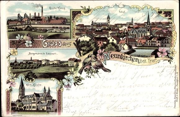 Litho Neunkirchen im Saarland, Grube König, Bergmann's Lazarett, Kath. Kirche