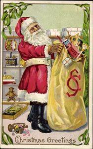 Präge Ak Frohe Weihnachten, Weihnachtsmann, Geschenkesack