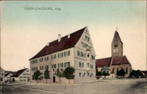 Ak Obergünzburg im schwäbischen Kreis Ostallgäu, Teilansicht von der Ortschaft