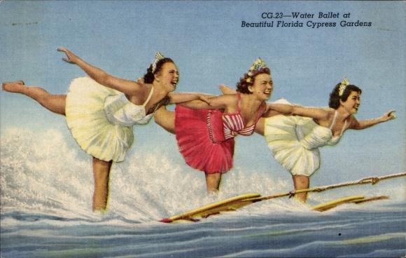 Ak Florida USA, Water Ballet at Beautiful Florida Cypress Gardens, Wasserski