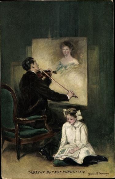 Künstler Ak Underwood, Clarence, Absent but not forgotten, Mann mit Geige, Frauenportrait