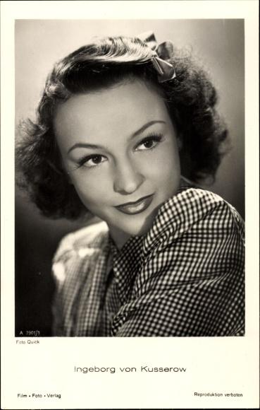 Ak Schauspielerin Ingeborg von Kusserow, Portrait, Schleife im Haar
