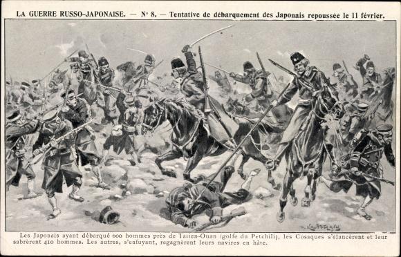 Künstler Ak Russisch Japanischer Krieg, Schlacht beim Anlanden der Japanischen Truppen
