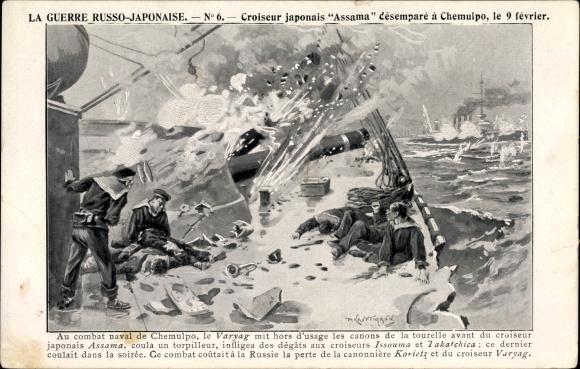 Künstler Ak Russisch Japanischer Krieg, Japan. Kreuzer Assama, Kriegsschiff, Seeschlacht v. Chemulpo