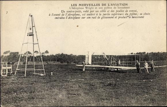 Ak Les Merveilles de l'Aviation, L'Aeroplane Wright, pylone de lancement, Biplan, Flugzeug