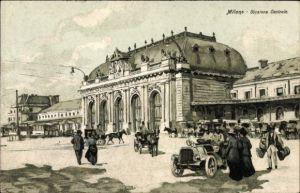 Künstler Ak Milano Mailand Lombardia, Stazione Centrale, Blick auf den Bahnhof, Straßenseite
