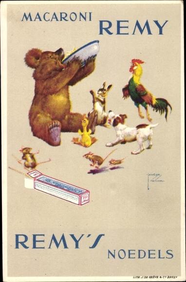 Künstler Ak Wood, Lawson, Macaroni Remy, Remy's Noedels, Bär isst Nudeln, Hahn, Hund, Mäuse, Hase