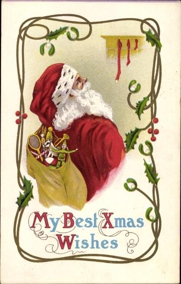 Präge Litho Frohe Weihnachten, Weihnachtsmann, Geschenke, Strümpfe, Christmas