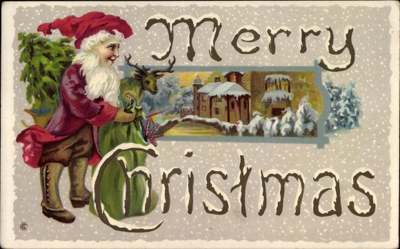 Präge Winter Litho Frohe Weihnachten, Weihnachtsmann, Geschenkesack