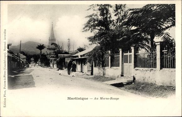 Ak Martinique, Au Morne Rouge, Straßenpartie in der Stadt
