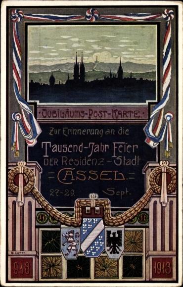 Künstler Wappen Ak Kassel in Hessen, Tausendjahr Feier 1913, Jubiläums Postkarte