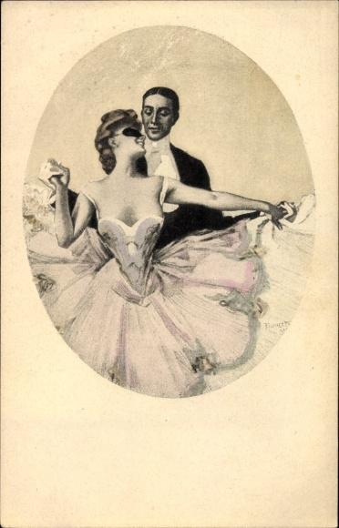 Künstler Ak Reznicek, Ferdinand von, Simplicissimus Karte Serie IX. No 3, Tanzendes Paar