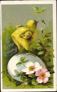 Präge Litho Glückwunsch Ostern, Küken auf einem Ei, Heckenrose