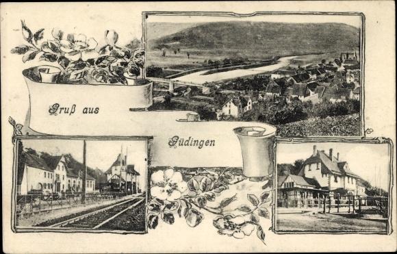 Ak Güdingen Saarbrücken im Saarland, Bahnhof, Blick auf Ortschaft und Umgebung