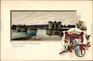 Präge Wappen Litho Ludwigshafen am Rhein Rheinland Pfalz, Blick auf die Rheinbrücke