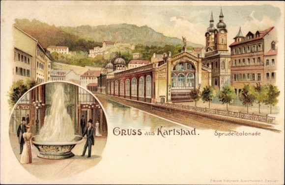 Litho Karlovy Vary Karlsbad Stadt, Sprudel Kolonnade, Teilansicht der Stadt