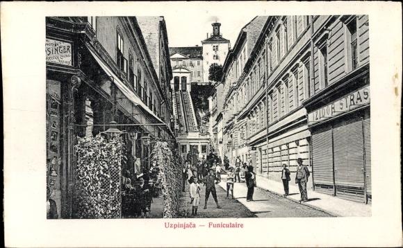 Ak Zagreb Kroatien, Funiculaire, Standseilbahn, Straßenansicht