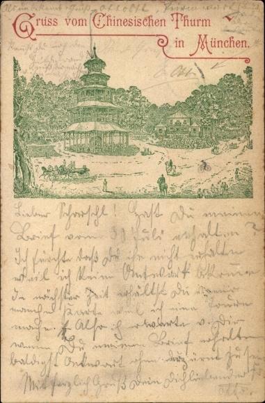 Litho München Bayern, Der Chinesische Turm im Englischen Garten