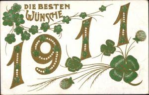 Präge Litho Glückwunsch Neujahr, Jahreszahl 1911, Kleeblätter