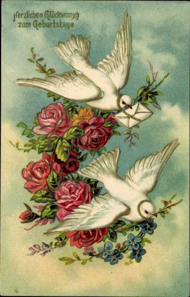 Präge Litho Glückwunsch Geburtstag, Zwei weiße Tauben mit Blumen und Brief