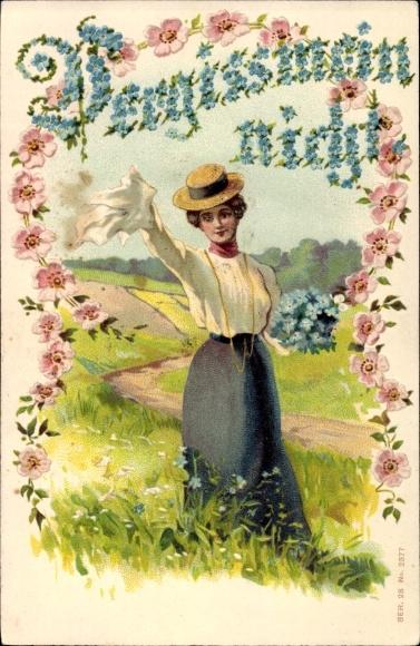 Präge Litho Vergissmeinnicht, Junge Frau mit Blumen auf einem Feld