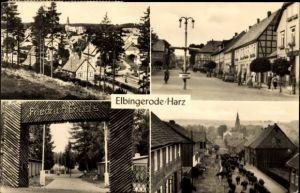 Ak Elbingerode Oberharz am Brocken, Straßenpartie, Viehtrieb durch den Ort, Eingang Friedrich Engels