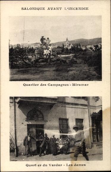 Ak Thessaloniki Griechenland, Quartier des Campagnes Miramar, Quartier du Vardar, les Dames