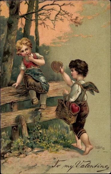 Präge Litho To my Valentine, Valentinstag, Amor überreicht Mädchen ein Herz