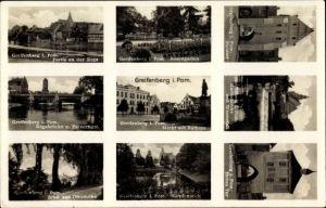 Ak Gryfice Greifenberg Pommern, Partie an der Rega, Rosengarten, Markt, Rathaus, Karpfenteich