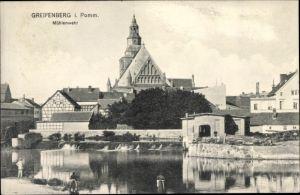 Ak Gryfice Greifenberg Pommern, Wasserpartie am Mühlenwehr