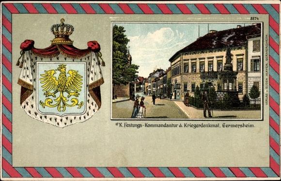 Wappen Litho Germersheim in der Rheinebene Rheinland Pfalz, Festungs Kommandantur und Kriegerdenkmal
