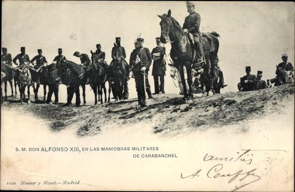Ak SM Don Alfonso XIII, en las Maniobras Militares de Carabanchel, König Alfons XIII von Spanien