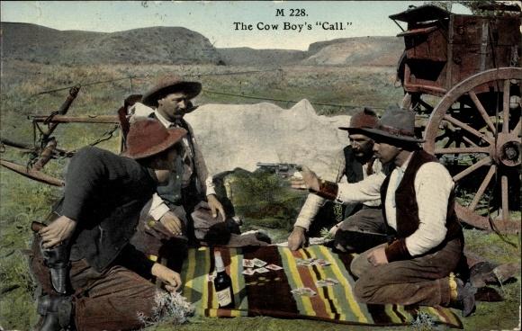Ak USA, The Cowboy's Call, Cowboys beim Kartenspiel, Pistolen