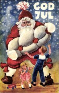 Künstler Ak Geerd, Frohe Weihnachten, Weihnachtsmann, Kinder, Geschenk, God Jul
